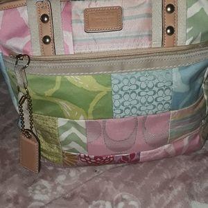 Coach patchwork pastel shoulder bag